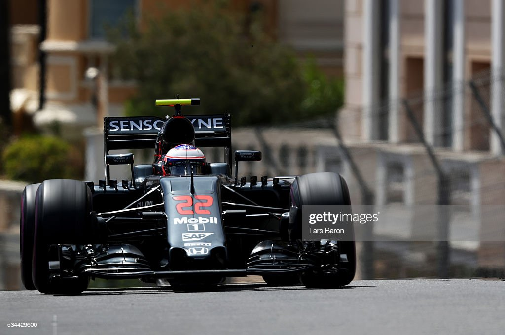 <a gi-track='captionPersonalityLinkClicked' href=/galleries/search?phrase=Jenson+Button&family=editorial&specificpeople=171505 ng-click='$event.stopPropagation()'>Jenson Button</a> of Great Britain driving the (22) McLaren Honda Formula 1 Team McLaren MP4-31 Honda RA616H Hybrid turbo on track during practice for the Monaco Formula One Grand Prix at Circuit de Monaco on May 26, 2016 in Monte-Carlo, Monaco.