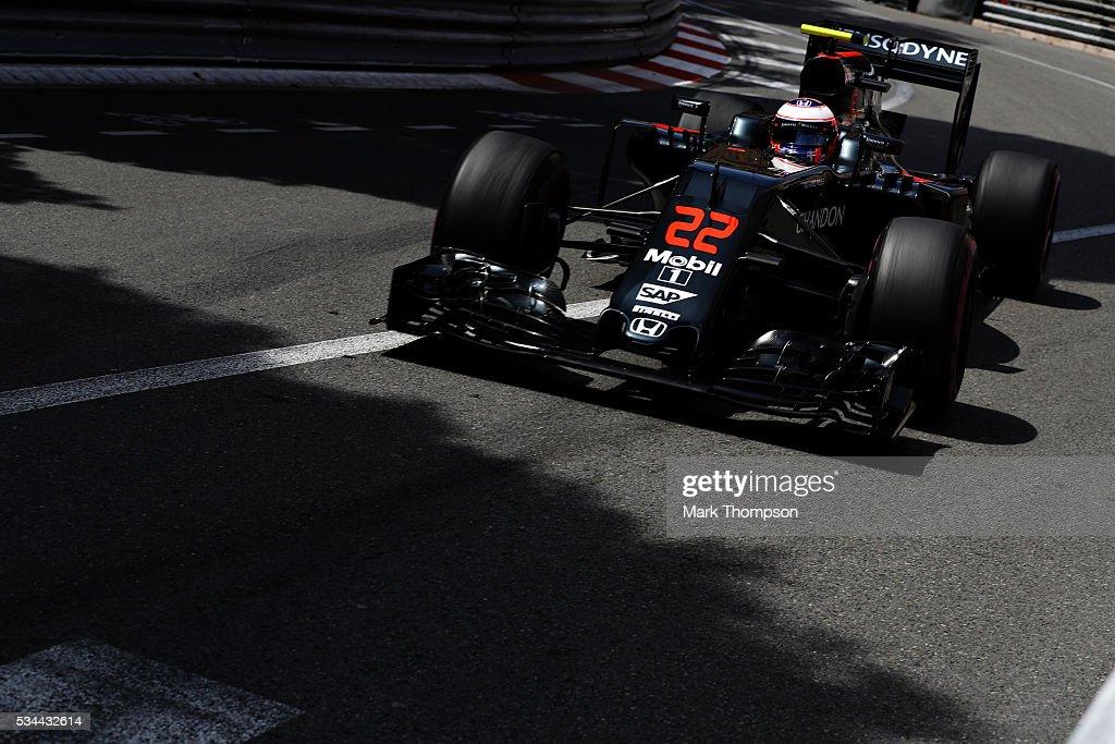 Jenson Button of Great Britain driving the (22) McLaren Honda Formula 1 Team McLaren oMP4-31 Honda RA616H Hybrid turbo on track during practice for the Monaco Formula One Grand Prix at Circuit de Monaco on May 26, 2016 in Monte-Carlo, Monaco.