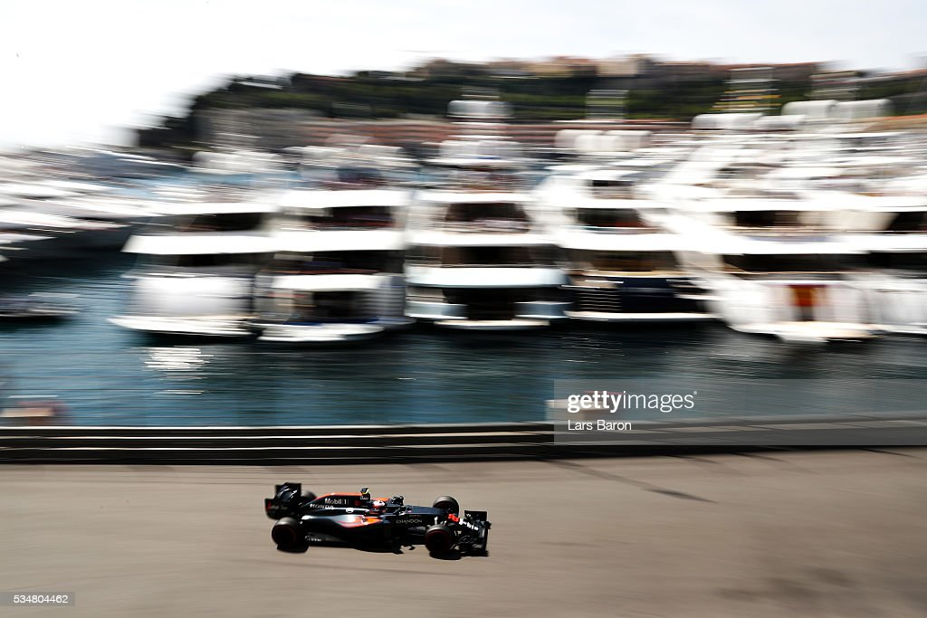 Jenson Button of Great Britain driving the (22) McLaren Honda Formula 1 Team McLaren MP4-31 Honda RA616H Hybrid turbo on track during final practice ahead of the Monaco Formula One Grand Prix at Circuit de Monaco on May 28, 2016 in Monte-Carlo, Monaco.