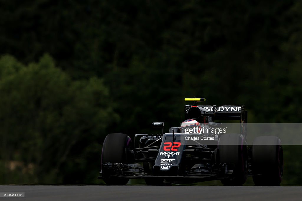 <a gi-track='captionPersonalityLinkClicked' href=/galleries/search?phrase=Jenson+Button&family=editorial&specificpeople=171505 ng-click='$event.stopPropagation()'>Jenson Button</a> of Great Britain driving the (22) McLaren Honda Formula 1 Team McLaren MP4-31 Honda RA616H Hybrid turbo on track during practice for the Formula One Grand Prix of Austria at Red Bull Ring on July 1, 2016 in Spielberg, Austria.