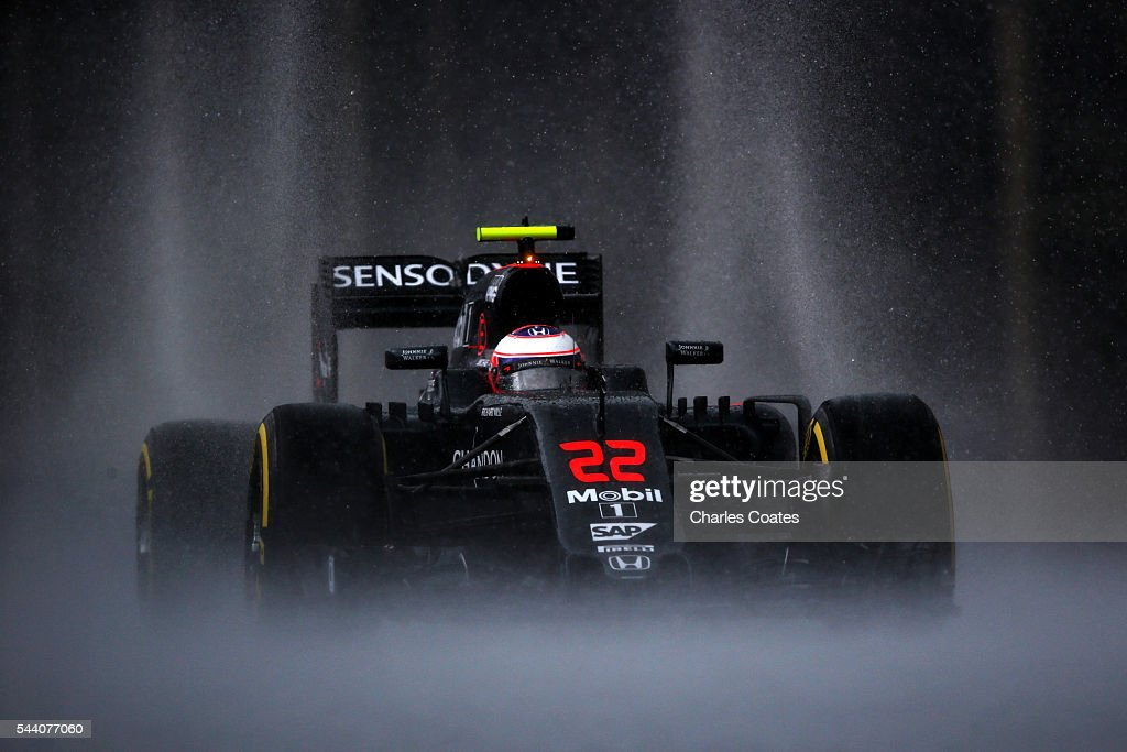 Jenson Button of Great Britain driving the (22) McLaren Honda Formula 1 Team McLareon MP4-31 Honda RA616H Hybrid turbo on track during practice for the Formula One Grand Prix of Austria at Red Bull Ring on July 1, 2016 in Spielberg, Austria.