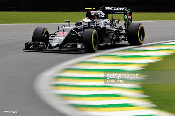 Jenson Button of Great Britain driving the McLaren Honda Formula 1 Team McLaren MP431 Honda RA616H Hybrid turbo on track during qualifying for the...