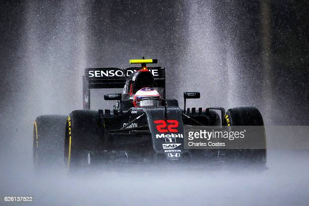 Jenson Button of Great Britain driving the McLaren Honda Formula 1 Team McLaren MP431 Honda RA616H Hybrid turbo on track during practice for the...