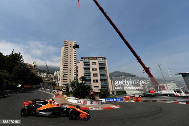 Jenson Button of Great Britain driving the McLaren Honda Formula 1 Team McLaren MCL32 on track during practice for the Monaco Formula One Grand Prix...