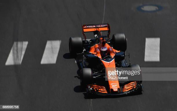 Jenson Button of Great Britain driving the McLaren Honda Formula 1 Team McLaren MCL32 on track during qualifying for the Monaco Formula One Grand...