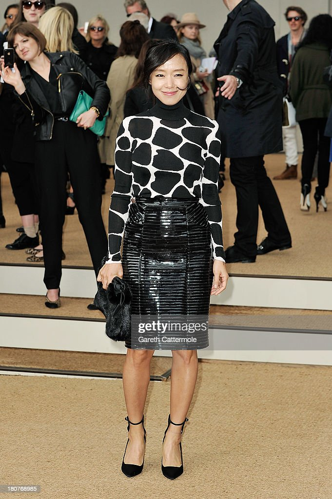 Jeon Do-Yeon arrives at Burberry Prorsum Womenswear Spring/Summer 2014 show during London Fashion Week at Kensington Gardens on September 16, 2013 in London, England.