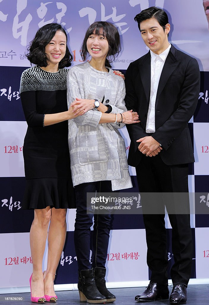 Jeon Do-Youn, director Bang Eun-Jin and Ko Soo attend the 'The Way Home' press conference at Apgujeong CGV on November 12, 2013 in Seoul, South Korea.