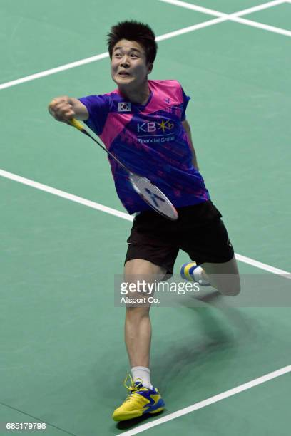 Jeon Hyeok Jin of South Korea plays a backhand shot to Brice Leverdez of France in the men's singles during round two of the 2017 World BWF Super...