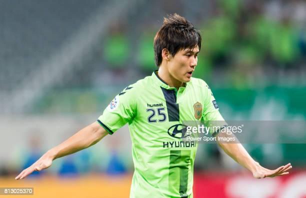 Jeonbuk Hyundai Motors FC defender Choi Chul Soon reacts during the AFC Champions League 2016 Quarter Final 1st leg between Shanghai SIPG FC vs...