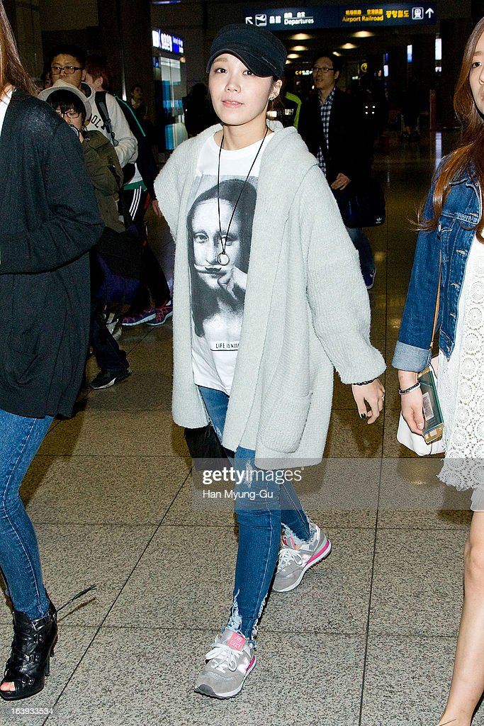 Jeong Eun-Ji of South Korean girl group A Pink is seen upon arrival at Incheon International Airport on March 17, 2013 in Incheon, South Korea.