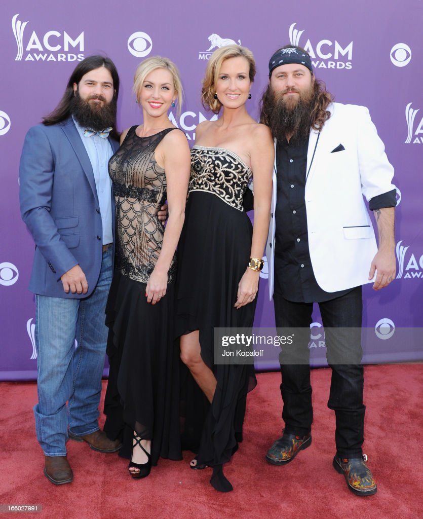 Jep Robertson, Jessica Robertson, Korie Robertson and Willie Robertson of Duck Dynasty arrive at the 48th Annual Academy Of Country Music Awards at MGM Grand Garden Arena on April 7, 2013 in Las Vegas, Nevada.