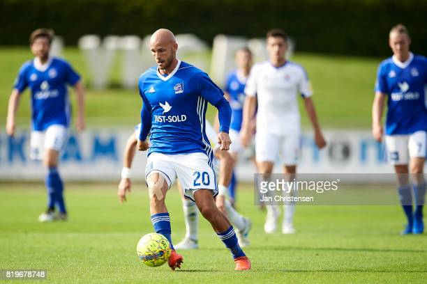 Jeppe Brandrup of Lyngby BK controls the ball during the UEFA Europa League Qualification match between Lyngby BK and Slovan Bratislava at Lyngby...