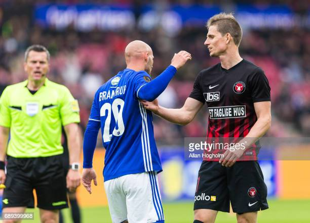 Jeppe Brandrup of Lyngby Boldklub and Jonas Borring of FC Midtjylland in action during the Danish Alka Superliga match between FC Midtjylland and...