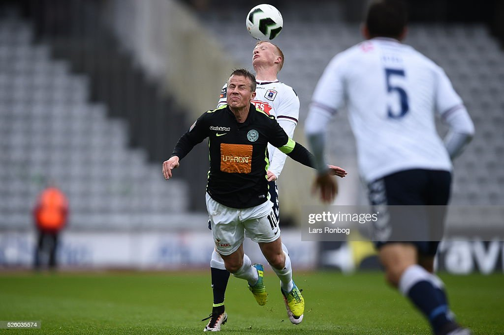 Action from the Danish Alka Superliga match between AGF Aarhus and Viborg FF at Ceres Park on April 29, 2016 in Aarhus, Denmark.