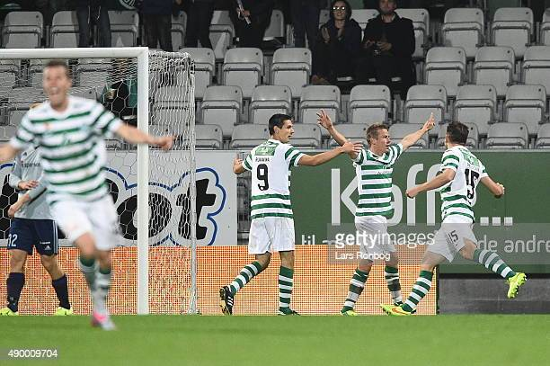 Jeppe Curth of Viborg FF celebrates after scoring their first goal during the Danish Alka Superliga match between Viborg FF and AaB Aalborg at Energi...