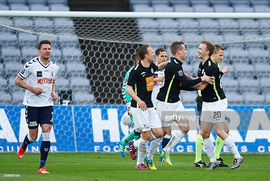 Jeppe Curth of Viborg FF celebrates after scoring their second goal during the Danish Alka Superliga match between AGF Aarhus and Viborg FF at Ceres Park on April 29, 2016 in Aarhus, Denmark.