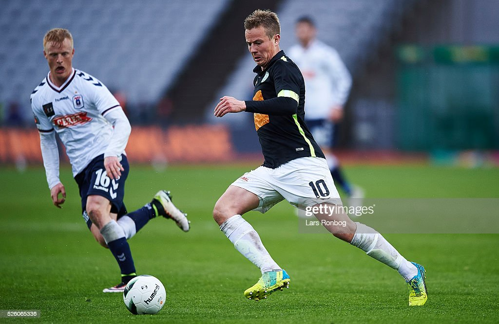 Jeppe Curth of Viborg FF in action during the Danish Alka Superliga match between AGF Aarhus and Viborg FF at Ceres Park on April 29, 2016 in Aarhus, Denmark.