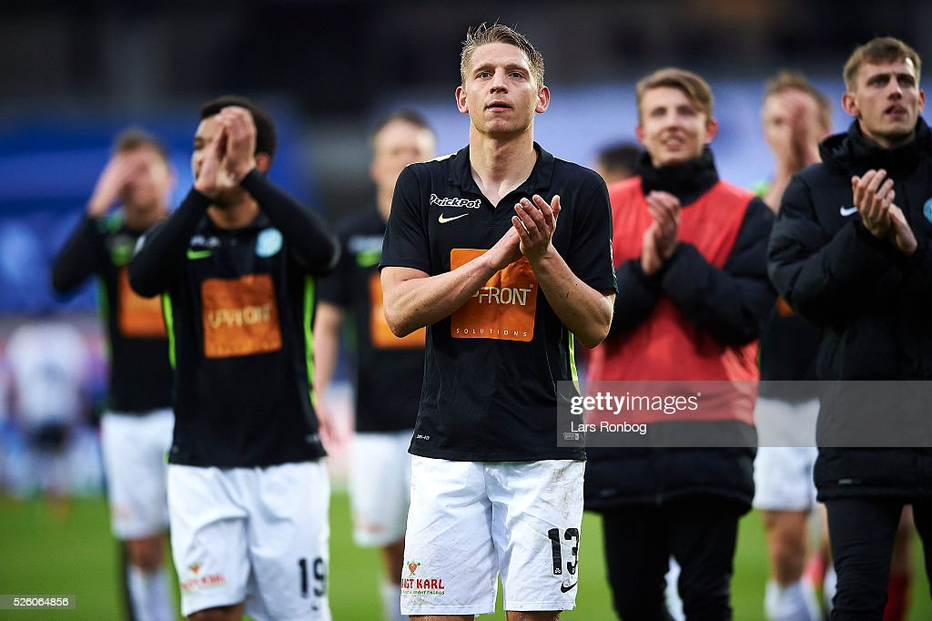 Jeppe Gronning of Viborg FF applaus the fans after the Danish Alka Superliga match between AGF Aarhus and Viborg FF at Ceres Park on April 29, 2016 in Aarhus, Denmark.