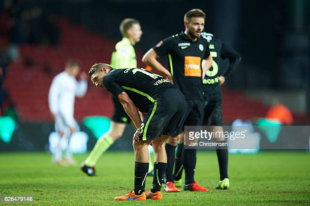 Jeppe Gronning of Viborg FF looks dejected after the Danish Alka Superliga match between FC Copenhagen and Viborg FF at Telia Parken Stadium on...