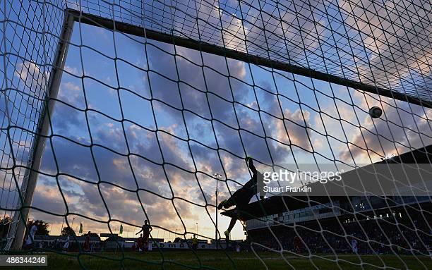 Jeppe Hojbjerg of Denmark dives to make a save during the International friendly match between U21 Germany and U21 Denmark at Stadion an der...