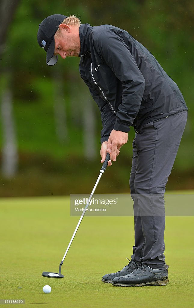 Jeppe Hulahl of Denmark on the 8th green during the Third Round of the Scottish Hydro Challenge hosted by MacDonald Hotels & Resorts on June 22, 2013 in Aviemore, Scotland.