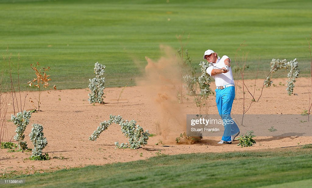 Jeppe Huldahl of Denmark plays a shot during the second round of the Trophee du Hassan II Golf at the Golf du Palais Royal on April 1 2011 in Agadir...