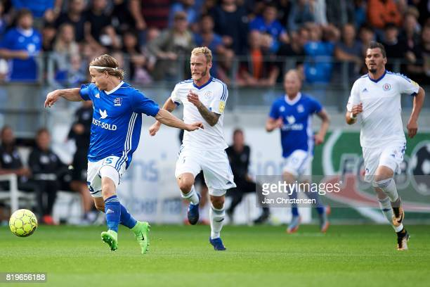 Jeppe Kjar of Lyngby BK compete for the ball during the UEFA Europa League Qualification match between Lyngby BK and Slovan Bratislava at Lyngby...
