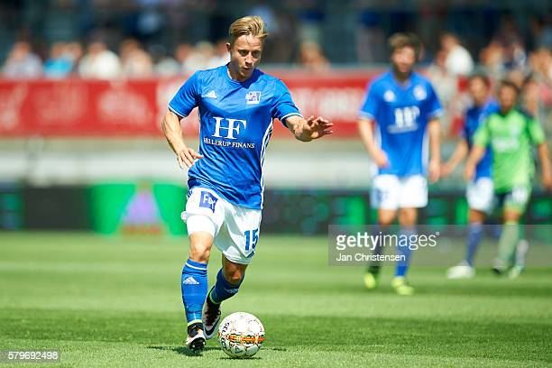 Jeppe Kjar of Lyngby BK controls the ball during the Danish Alka Superliga match between Lyngby BK and OB Odense at Lyngby Stadion on July 24 2016 in...