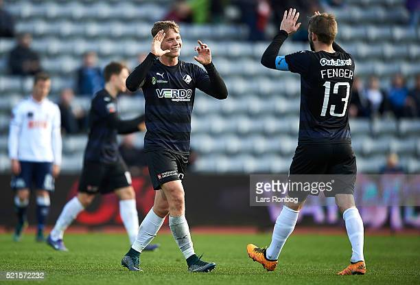 Jeppe Tverskov and Mads Fenger of Randers FC celebrates after the Danish Alka Superliga match between AGF Aarhus and Randers FC at Ceres Park on...