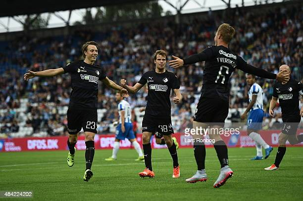 Jeppe Tverskov of Randers FC celebrates after scoring their first goal during the Danish Alka Superliga match between OB Odense and Randers FC at...