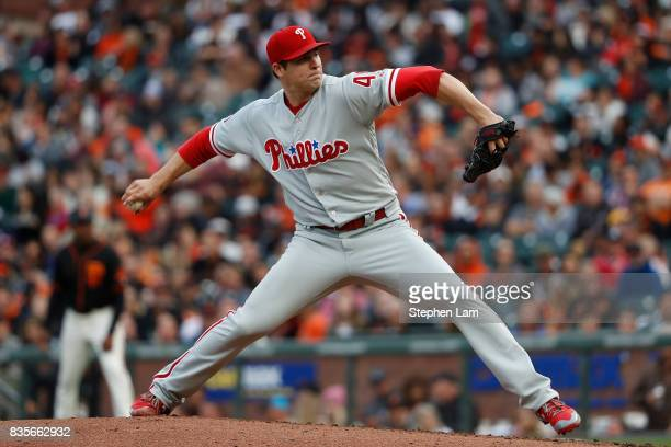 Jerad Eickhoff of the Philadelphia Phillies delivers a pitch during the second inning against the San Francisco Giants at ATT Park on August 19 2017...