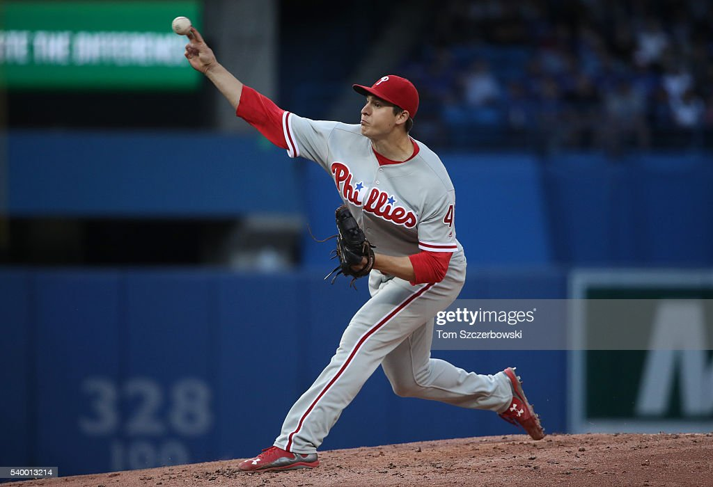 Jerad Eickhoff #48 of the Philadelphia Phillies delivers a pitch in the second inning during MLB game action against the Toronto Blue Jays on June 13, 2016 at Rogers Centre in Toronto, Ontario, Canada.