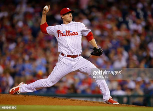 Jerad Eickhoff of the Philadelphia Phillies in action against the New York Mets during a game at Citizens Bank Park on April 10 2017 in Philadelphia...