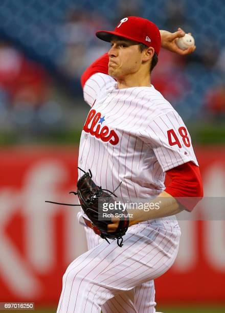 Jerad Eickhoff of the Philadelphia Phillies in action against the Colorado Rockies at Citizens Bank Park on May 22 2017 in Philadelphia Pennsylvania