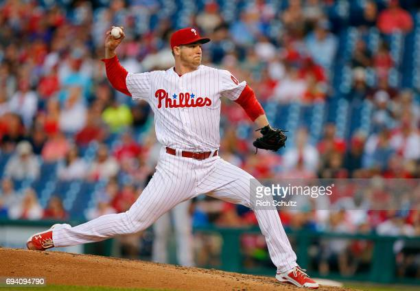 Jerad Eickhoff of the Philadelphia Phillies in action during a game against the San Francisco Giants at Citizens Bank Park on June 2 2017 in...