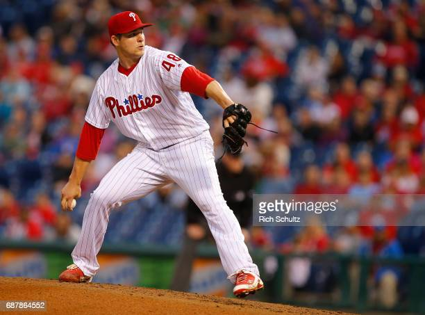 Jerad Eickhoff of the Philadelphia Phillies in in action during a game against of the Colorado Rockies at Citizens Bank Park on May 22 2017 in...