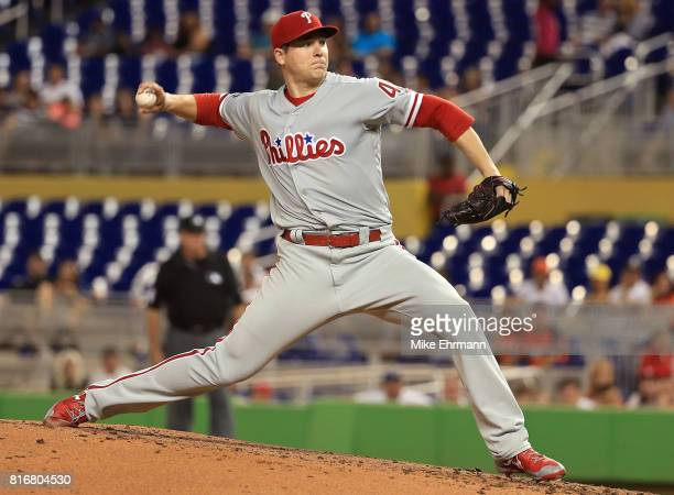 Jerad Eickhoff of the Philadelphia Phillies pitches during a game against the Miami Marlins at Marlins Park on July 17 2017 in Miami Florida