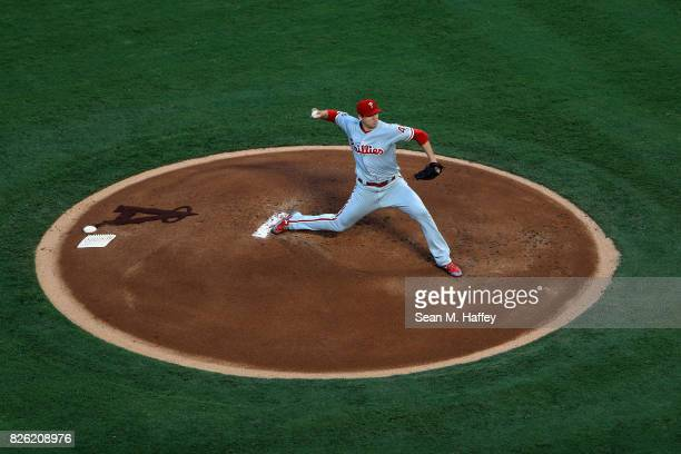 Jerad Eickhoff of the Philadelphia Phillies pitches during the first inning of a game against the Los Angeles Angels of Anaheim at Angel Stadium of...