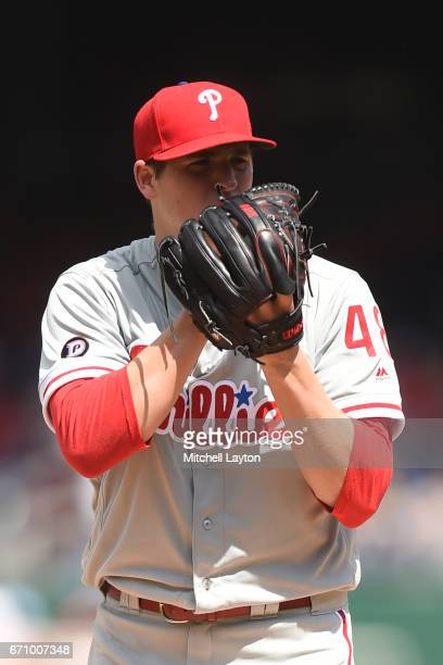 Jerad Eickhoff of the Philadelphia Phillies pitches during the game against the Washington Nationals at Nationals Park on April 16 2017 in Washington...