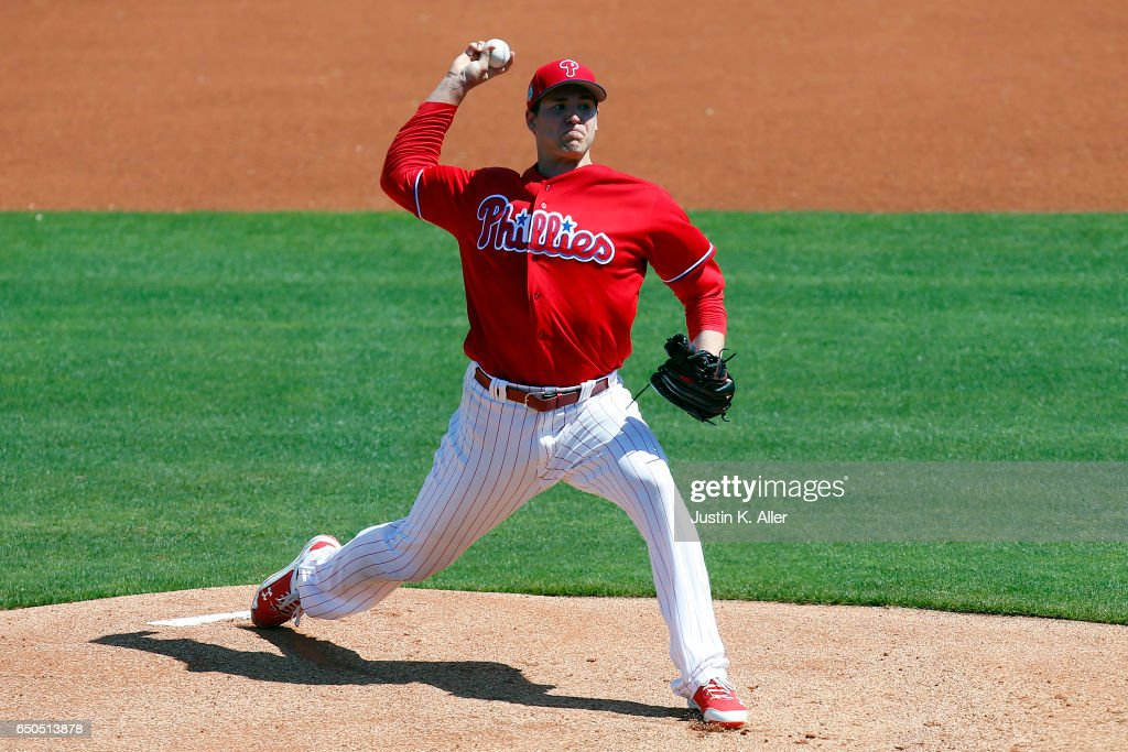 Jerad Eickhoff #48 of the Philadelphia Phillies pitches in the first inning against the Toronto Blue Jays on March 9, 2017 at Spectrum Field in Clearwater, Florida.