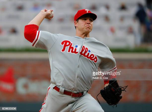 Jerad Eickhoff of the Philadelphia Phillies pitches in the first inning against the Atlanta Braves at SunTrust Park on August 9 2017 in Atlanta...