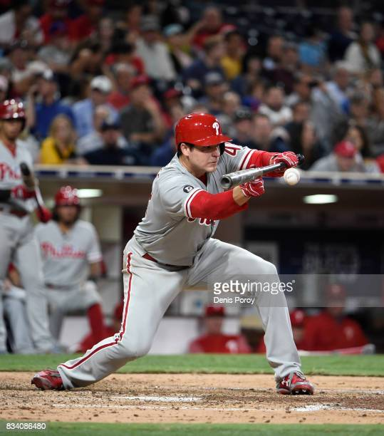 Jerad Eickhoff of the Philadelphia Phillies plays during a baseball game against the San Diego Padres at PETCO Park on August 14 2017 in San Diego...