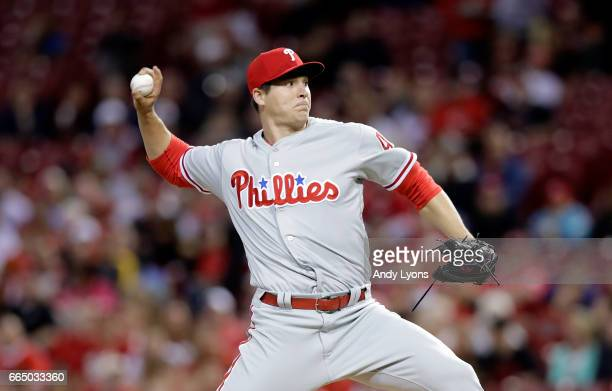 Jerad Eickhoff of the Philadelphia Phillies throws a pitch against the Cincinnati Reds at Great American Ball Park on April 5 2017 in Cincinnati Ohio