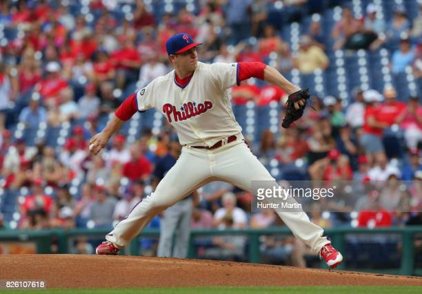 Jerad Eickhoff of the Philadelphia Phillies throws a pitch during a game against the Milwaukee Brewers at Citizens Bank Park on July 23 2017 in...