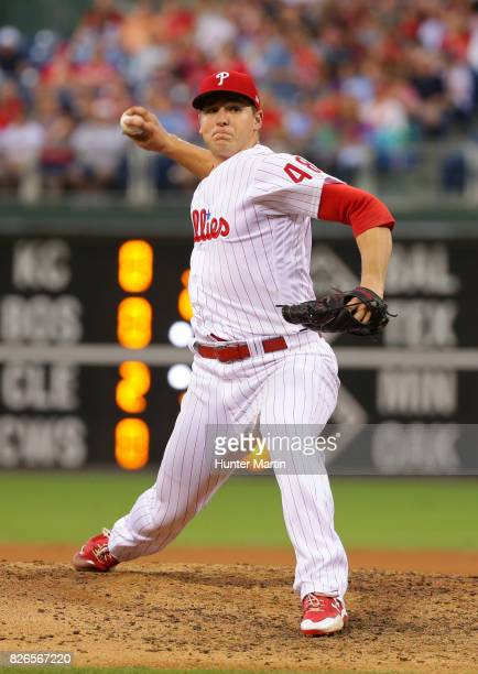 Jerad Eickhoff of the Philadelphia Phillies throws a pitch during a game against the Atlanta Braves at Citizens Bank Park on July 29 2017 in...