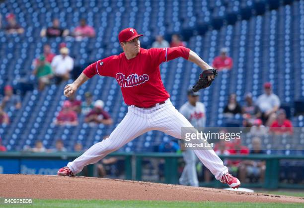 Jerad Eickhoff of the Philadelphia Phillies throws a pitch in the top of the first inning against the Atlanta Braves in game one of the doubleheader...