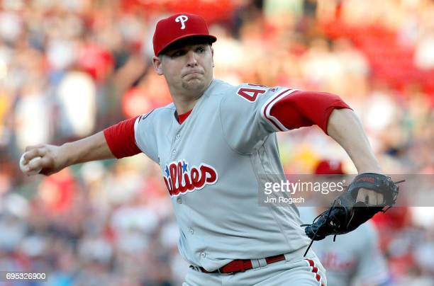 Jerad Eickhoff of the Philadelphia Phillies throws against the Boston Red Sox in the first inning at Fenway Park on June 12 2017 in Boston...