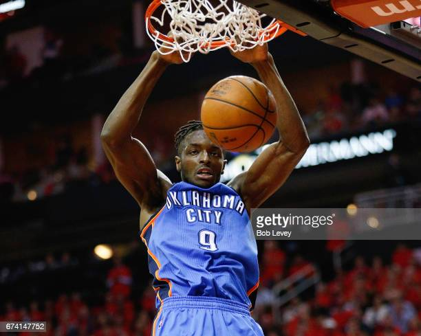 Jerami Grant of the Oklahoma City Thunder dunks during Game Five of the Western Conference Quarterfinals game of the 2017 NBA Playoffs at Toyota...