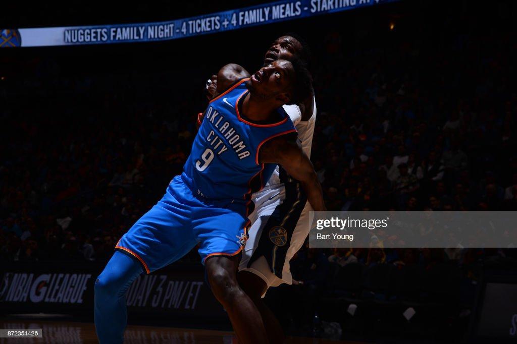 Jerami Grant #9 of the Oklahoma City Thunder plays defense against Emmanuel Mudiay #0 of the Denver Nuggets on November 9, 2017 at the Pepsi Center in Denver, Colorado.