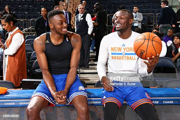 Jerami Grant of the Philadelphia 76ers and Jerian Grant of the New York Knicks before the game on December 2 2015 at Madison Square Garden in New...